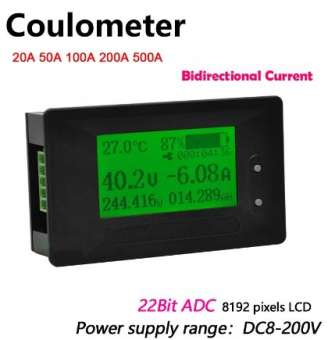 Kapazitätsanzeige und Spannungsanzeige 8-200V -200A bis +200A